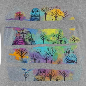 Rainbow of Owls -Grey - Women's Premium T-Shirt