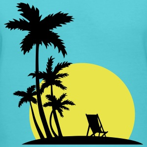 Paradise - Sunset and palm trees T-Shirts - Women's V-Neck T-Shirt