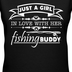 Girl In Love With Her Fishing Buddy - Women's V-Neck T-Shirt