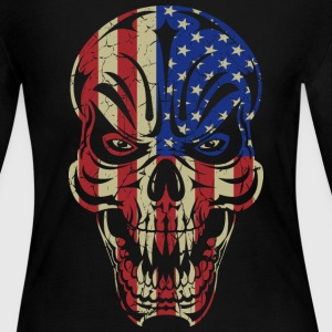 Badass Skull USA Flag Long Sleeve Shirts - Women's Long Sleeve Jersey T-Shirt