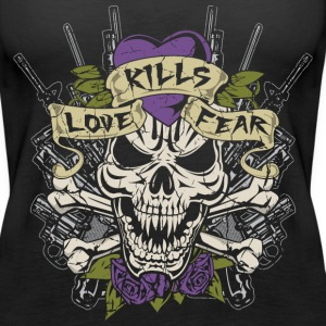 Love Kills Fear Skull Gun Tanks - Women's Premium Tank Top