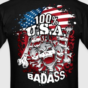 USA Flag Skulls Bones T-Shirts - Men's T-Shirt