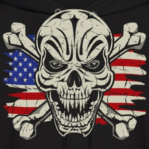 Skull Crossbones USA Flag Hoodies - Men's Hoodie