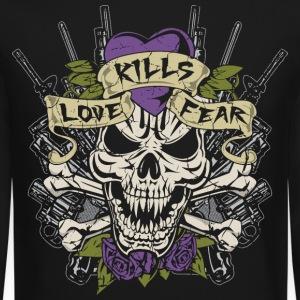 Love Kills Fear Skull Gun Long Sleeve Shirts - Crewneck Sweatshirt