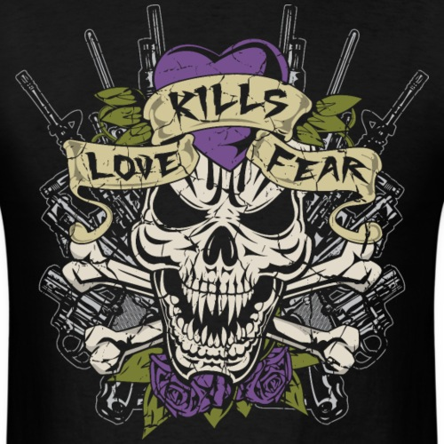 Love Kills Fear Skull Gun