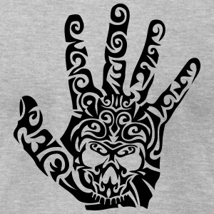 tribal death skull head hand T-Shirts - Men's T-Shirt by American Apparel