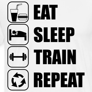 Eat Sleep Train Repeat muscles - Men's Premium T-Shirt
