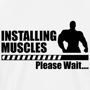 Installing muscles funny gym - Men's Premium T-Shirt