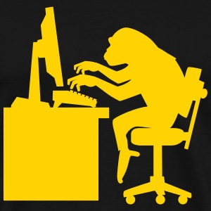 Chimp pounding keyboard T-Shirts - Men's Premium T-Shirt