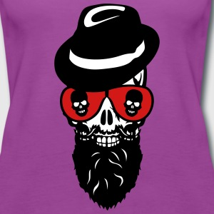 Death head skull cap hat beard beard 8 Tanks - Women's Premium Tank Top
