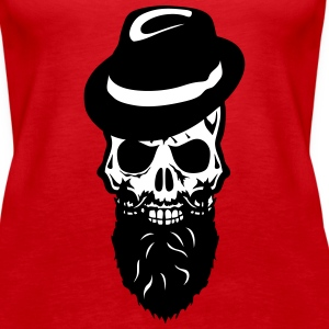 Death head skull cap hat beard beard Tanks - Women's Premium Tank Top