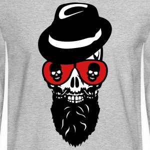 Death head skull cap hat beard beard 8 Long Sleeve Shirts - Men's Long Sleeve T-Shirt