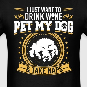 Bichon Frise Drink Wine & Pet Dog T-Shirt T-Shirts - Men's T-Shirt