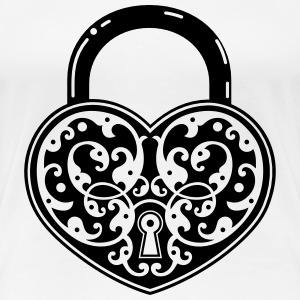 vintage heart shaped lock - Women's Premium T-Shirt