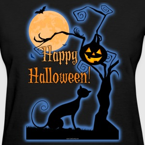 Happy Halloween Cat Moon T-Shirts - Women's T-Shirt
