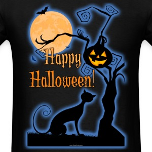 Happy Halloween Cat Moon T-Shirts - Men's T-Shirt