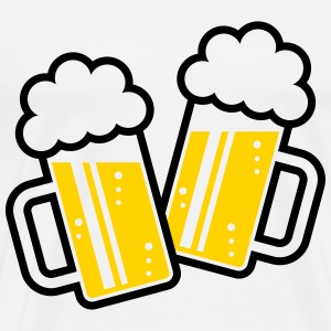 2 Clinking Beer Glasses For A Cheer! (2C) T-Shirts - Men's Premium T-Shirt