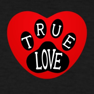 True Love Dog Paw In Red Heart - Men's T-Shirt