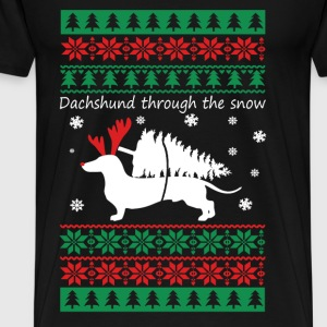 Dachshund Christmas - Dachshund through the snow - Men's Premium T-Shirt