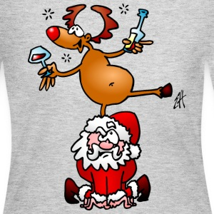 Reindeer is having a drink on Santa Claus Long Sleeve Shirts - Women's Long Sleeve Jersey T-Shirt