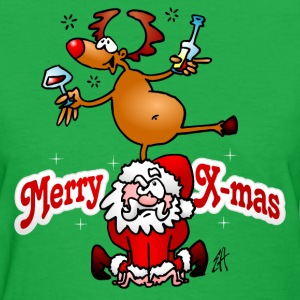 Merry Christmas - Reindeer dances on Santa Claus T-Shirts - Women's T-Shirt