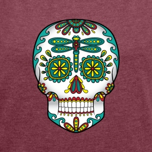 Dragonfly Sugar Skull - Women´s Rolled Sleeve Boxy T-Shirt