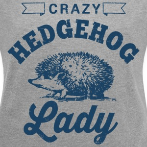 Crazy Hedgehog Lady T-Shirts - Women´s Rolled Sleeve Boxy T-Shirt