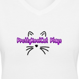 PrettyKoolCat Plays Cat Logo - Women's V-Neck T-Shirt