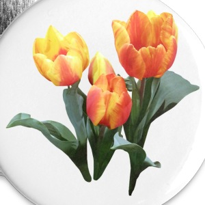 Three Orange and Yellow Tulips Buttons - Large Buttons