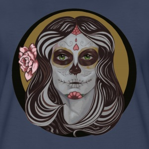 Sugar Skull In Pinstripes - Women's Premium T-Shirt