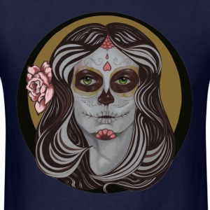 Sugar Skull in Pinstripes T-shirt - Men's T-Shirt