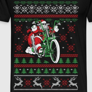 Biker - Santa riding a bike christmas sweater - Men's Premium T-Shirt