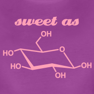 Design ~ YellowIbis.com 'Chemical Structures' Women's Premium T-Shirt: Sweet as glucose (Color Choice)