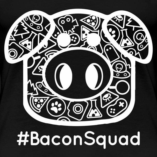 Women's White Print Bacon Squad Tee
