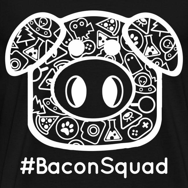 Men's White Print Bacon Squad Tee
