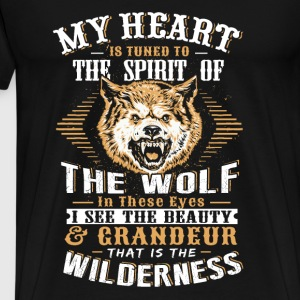 Wolf - My heart is tuned to the spirit of wolf tee - Men's Premium T-Shirt