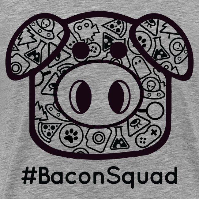 Men's Black Print Bacon Squad Tee