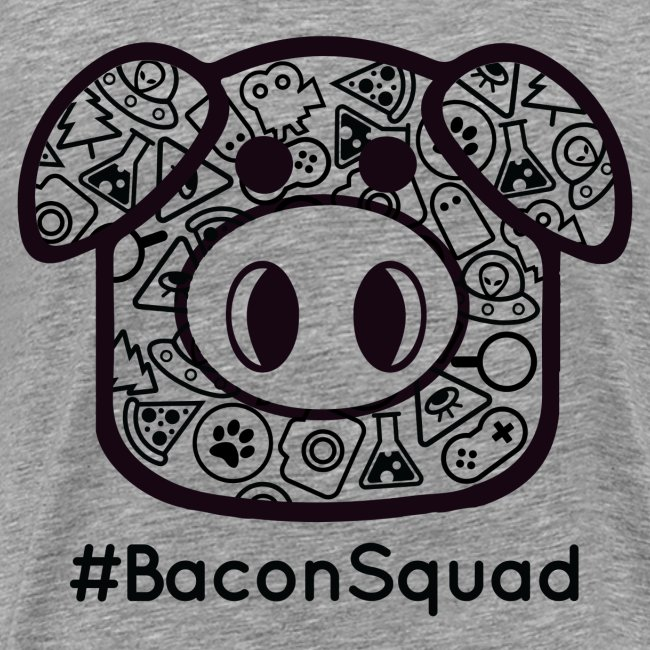 Men's Black Print Bacon Squad Tee