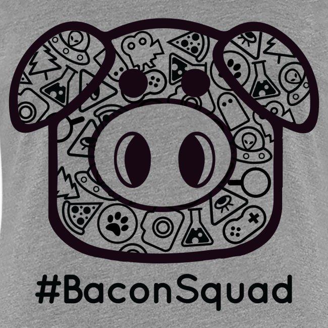 Women's Black Print Bacon Squad Tee