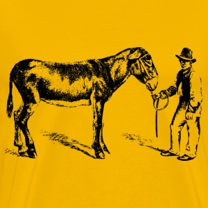 Man with donkey - Men's Premium T-Shirt