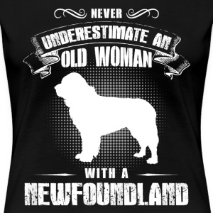 Old Woman With Newfoundland - Women's Premium T-Shirt