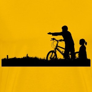 Kids And Bike Silhouette - Men's Premium T-Shirt