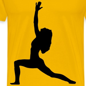 Female Yoga Pose Silhouette 4 - Men's Premium T-Shirt