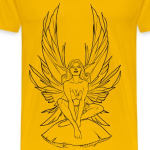 Meditating Fairy Line Art - Men's Premium T-Shirt