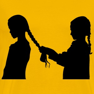 Girl Braiding Hair Silhouette - Men's Premium T-Shirt