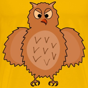 Enraged owl front view, spread wings - Men's Premium T-Shirt