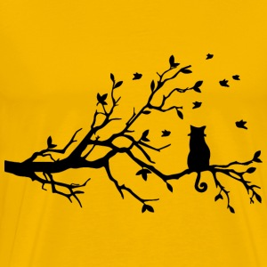 Curly Tailed Cat On Tree Silhouette - Men's Premium T-Shirt