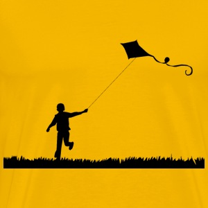 Boy Flying Kite Silhouette - Men's Premium T-Shirt