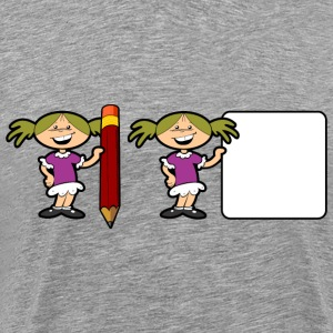 Girl With Pencil And Sign - Men's Premium T-Shirt
