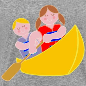 Girl And Boy Rowing In Canoe - Men's Premium T-Shirt